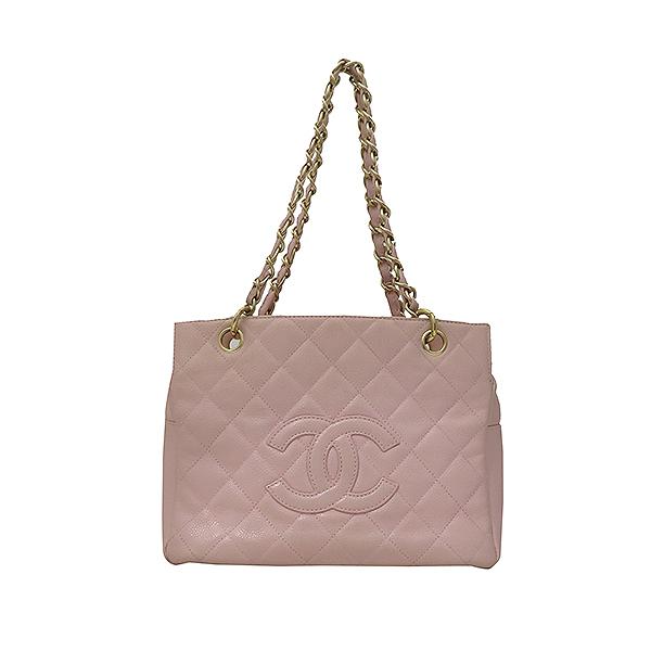 Chanel(샤넬) A18004 캐비어스킨 핑크컬러 퀼팅 마틀라쎄 COCO로고 스티치 정방 메탈 금장 체인 토트백 [부산서면롯데점]