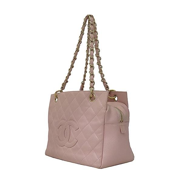 Chanel(샤넬) A18004 캐비어스킨 핑크컬러 퀼팅 마틀라쎄 COCO로고 스티치 정방 메탈 금장 체인 토트백 [부산서면롯데점] 이미지2 - 고이비토 중고명품