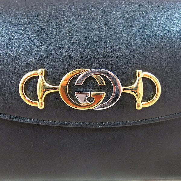 Gucci(구찌) 572375 블랙 레더 [구찌 주미] 골드실버 메탈 홀스빗 주미 인터로킹 스몰 체인 숄더백 [대구동성로점] 이미지4 - 고이비토 중고명품