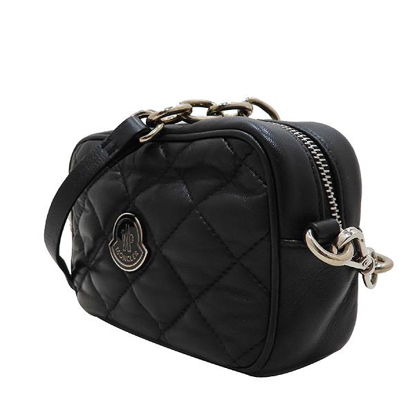 MONCLER(몽클레어) 블랙 컬러 퀼팅 레더 로고 장식 미니 크로스백 [인천점] 이미지2 - 고이비토 중고명품