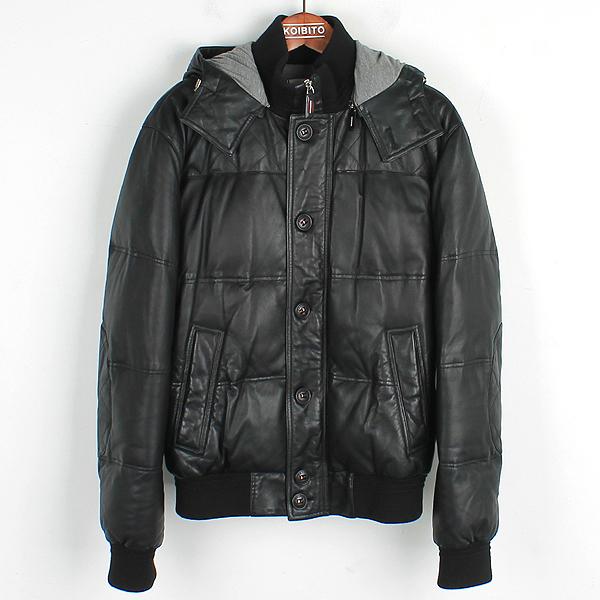 Bally(발리) PL 1LB658 4121 블랙 컬러 100% 램스킨 레더 삼선 디테일 남성용 후드 봄버 자켓 [강남본점]