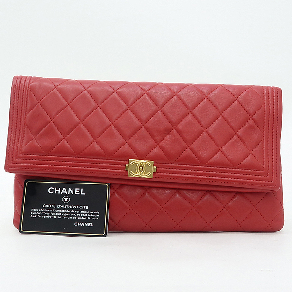 Chanel(샤넬) A80572 금장 로고 보이 샤넬 레드 램스킨 폴딩 클러치백 [강남본점]