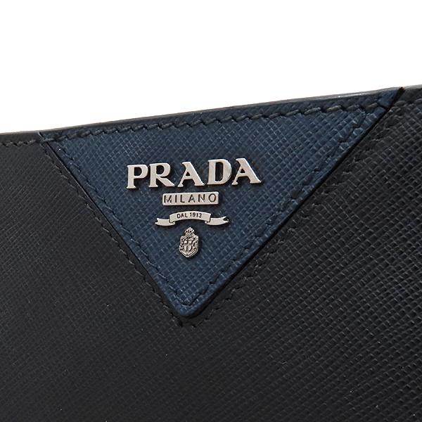 Prada(프라다) 2VN003 블랙 사피아노 SAFFIANO TRAVEL NERO 네이비 삼각 로고 집업 클러치 [인천점] 이미지4 - 고이비토 중고명품