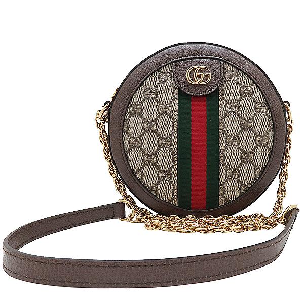 Gucci(구찌) 550618 브라운 레더 오피디아 웹 GG 라운드 미니 체인 크로스백 [인천점]