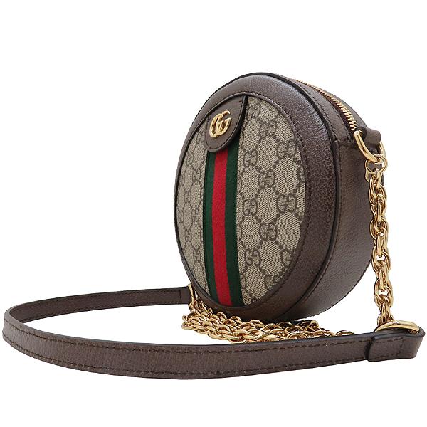 Gucci(구찌) 550618 브라운 레더 오피디아 웹 GG 라운드 미니 체인 크로스백 [인천점] 이미지2 - 고이비토 중고명품