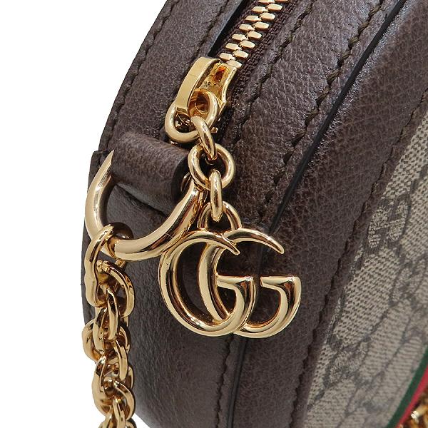 Gucci(구찌) 550618 브라운 레더 오피디아 웹 GG 라운드 미니 체인 크로스백 [인천점] 이미지4 - 고이비토 중고명품