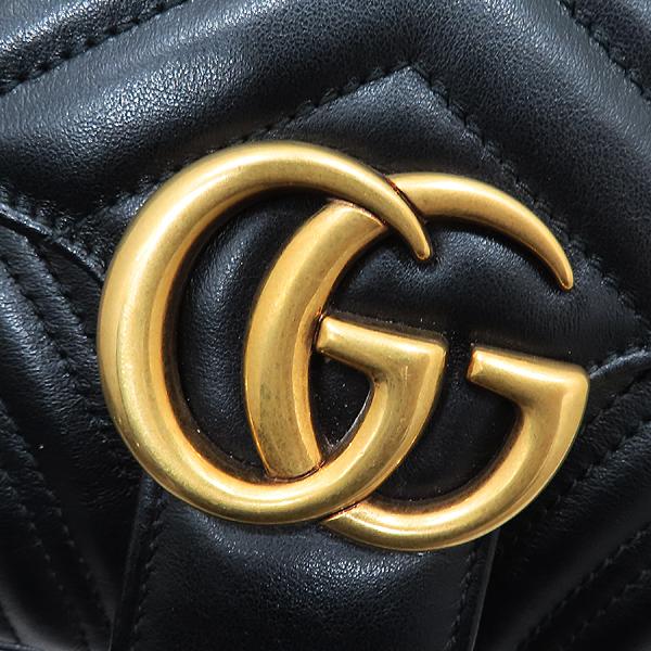 Gucci(구찌) 443497 블랙 레더 GG마몬트 스몰 마틀라쎄 퀼팅 금장 체인 숄더백 [인천점] 이미지4 - 고이비토 중고명품