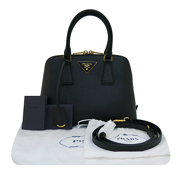 Prada(프라다) 1BA838 블랙 사피아노 금장 로고 장식 토트백 + 크로스스트랩 2WAY [부산센텀본점]