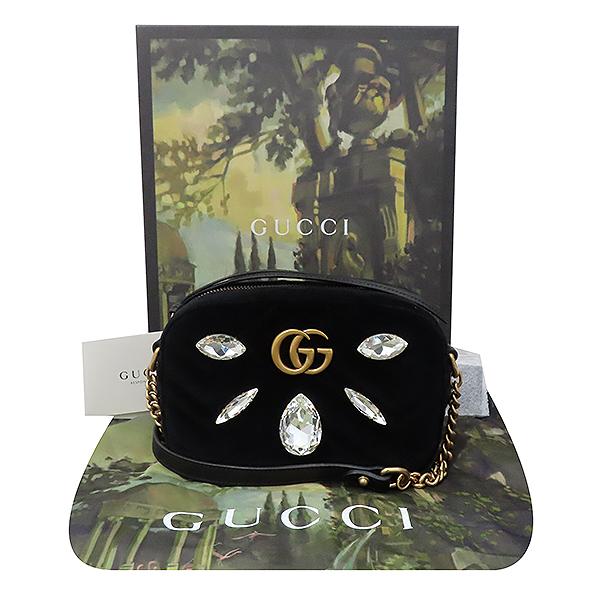 Gucci(구찌) 448065 블랙 벨벳 금장 GG 마몬트 Marmont 크리스탈 장식 미니 크로스백 [부산서면롯데점]