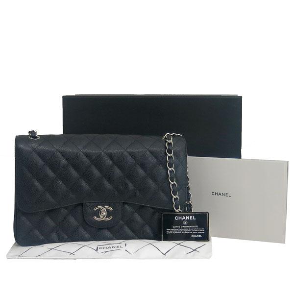 Chanel(샤넬) A58600 블랙 캐비어스킨 클래식 점보 L사이즈 은장로고 체인 플랩 숄더백 [동대문점]