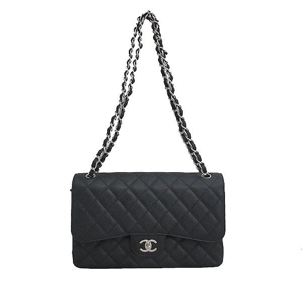 Chanel(샤넬) A58600 블랙 캐비어스킨 클래식 점보 L사이즈 은장로고 체인 플랩 숄더백 [동대문점] 이미지2 - 고이비토 중고명품