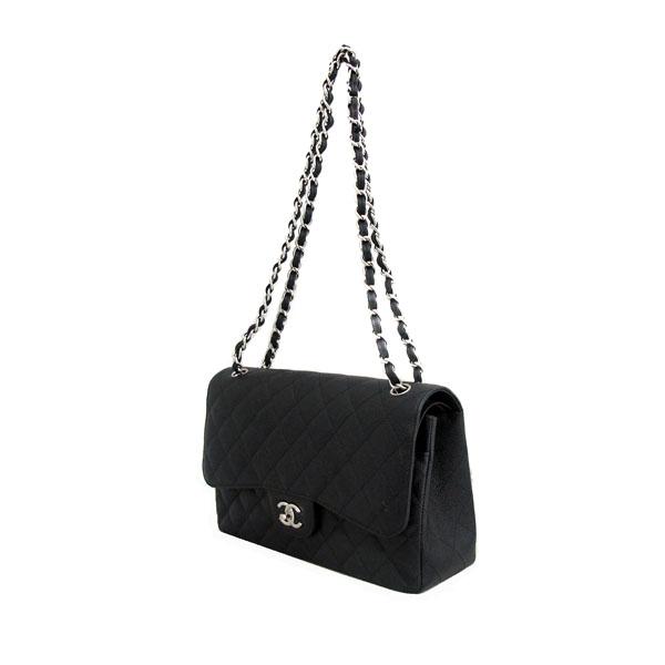 Chanel(샤넬) A58600 블랙 캐비어스킨 클래식 점보 L사이즈 은장로고 체인 플랩 숄더백 [동대문점] 이미지3 - 고이비토 중고명품
