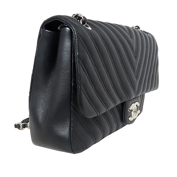 Chanel(샤넬) 은장 COCO로고 블랙 컬러 램스킨 쉐브론 점보사이즈 체인 숄더백 [대전본점] 이미지2 - 고이비토 중고명품