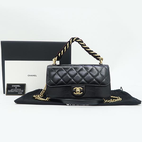 Chanel(샤넬) A91864 블랙 램스킨 금장 트위드 체인 스트라이트 아코디언 플랩 숄더백 [강남본점]