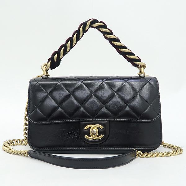 Chanel(샤넬) A91864 블랙 램스킨 금장 트위드 체인 스트라이트 아코디언 플랩 숄더백 [강남본점] 이미지2 - 고이비토 중고명품
