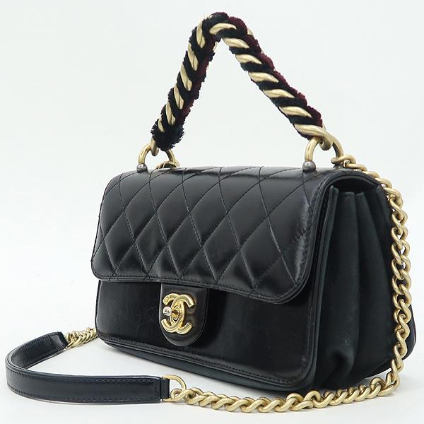 Chanel(샤넬) A91864 블랙 램스킨 금장 트위드 체인 스트라이트 아코디언 플랩 숄더백 [강남본점] 이미지3 - 고이비토 중고명품
