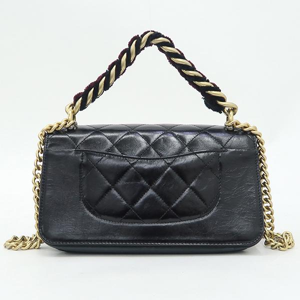 Chanel(샤넬) A91864 블랙 램스킨 금장 트위드 체인 스트라이트 아코디언 플랩 숄더백 [강남본점] 이미지4 - 고이비토 중고명품