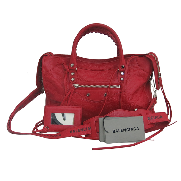 Balenciaga(발렌시아가) 431621 레드 레더 그래피티 클래식 시티 S사이즈 모터 토트백 + 숄더스트랩 2WAY [동대문점]