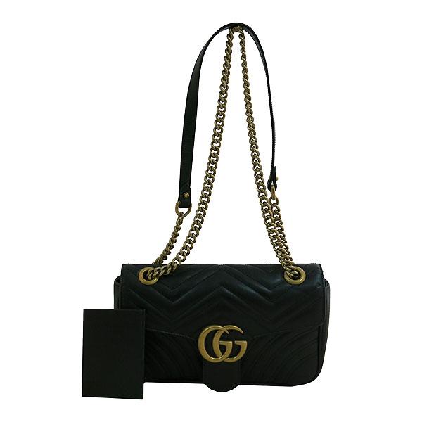 Gucci(구찌) 443497 블랙 레더 GG마몬트 스몰 마틀라쎄 퀼팅 금장 체인 숄더백 [대구동성로점]