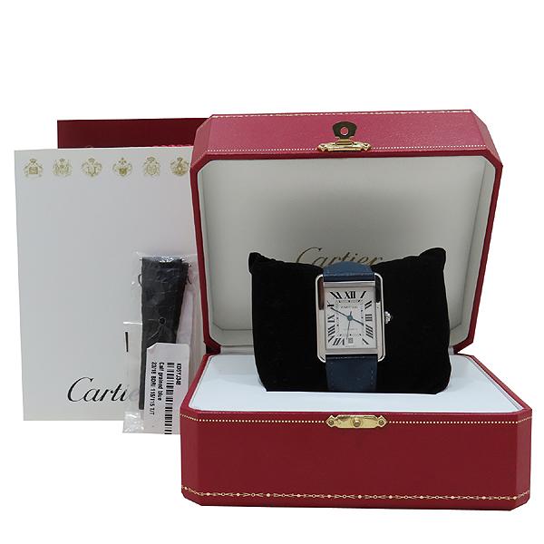 Cartier(까르띠에) W5200027 TANK SOLO(탱크 솔로) XL사이즈 오토매틱 DD클립 네이비 가죽 밴드 남성용 시계 [인천점]