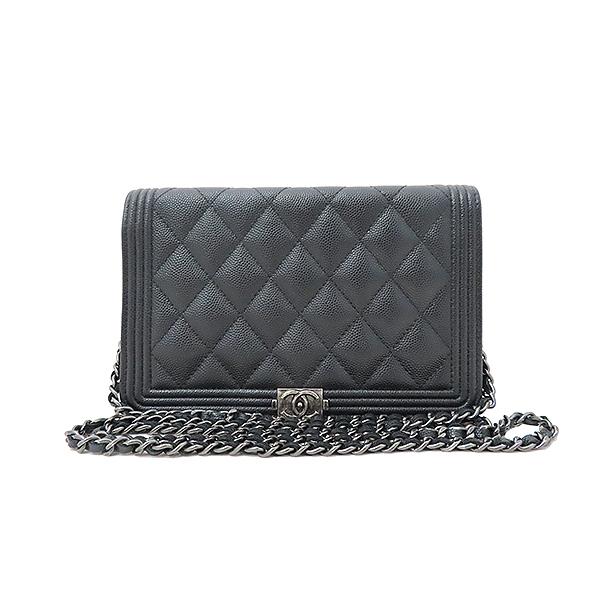 Chanel(샤넬) A80287 블랙 캐비어스킨 보이 샤넬 WOC (월릿 온 더 체인) 클러치 겸 크로스백 [부산서면롯데점] 이미지2 - 고이비토 중고명품