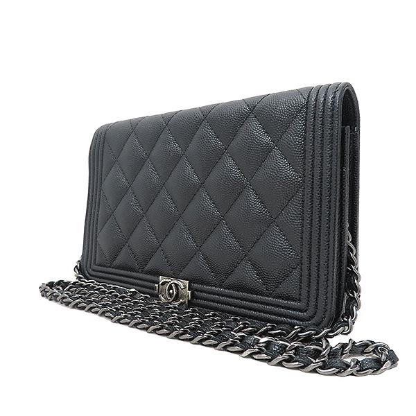 Chanel(샤넬) A80287 블랙 캐비어스킨 보이 샤넬 WOC (월릿 온 더 체인) 클러치 겸 크로스백 [부산서면롯데점] 이미지3 - 고이비토 중고명품
