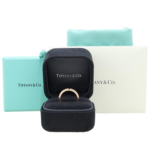 Tiffany(티파니) 18K 핑크 골드 다이아 (0.13캐럿) T TWO 내로우 반지 - 8호 [강남본점]