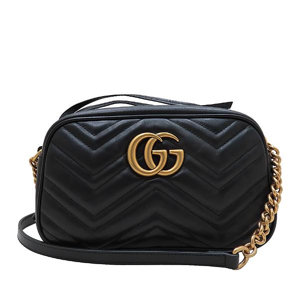 Gucci(구찌) 447632 블랙 레더 GG Marmont(마몬트) 마틀라세 금장로고 체인 크로스백 [인천점] 이미지2 - 고이비토 중고명품