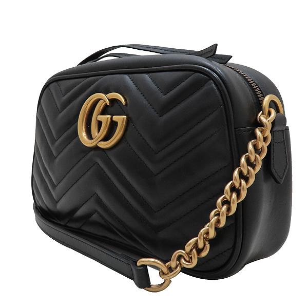 Gucci(구찌) 447632 블랙 레더 GG Marmont(마몬트) 마틀라세 금장로고 체인 크로스백 [인천점] 이미지3 - 고이비토 중고명품