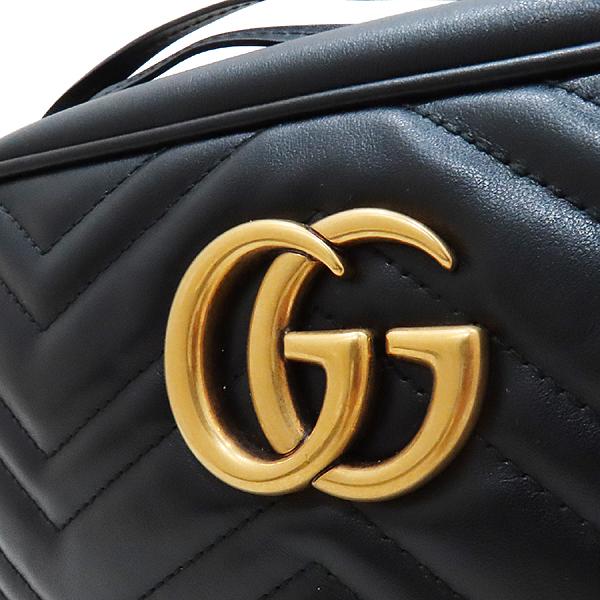 Gucci(구찌) 447632 블랙 레더 GG Marmont(마몬트) 마틀라세 금장로고 체인 크로스백 [인천점] 이미지4 - 고이비토 중고명품