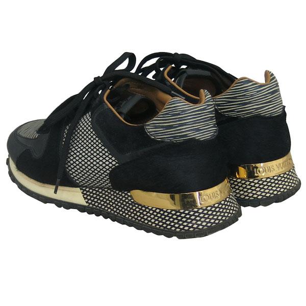 Louis Vuitton(루이비통) 블랙 컬러 레더 송치 트리밍 금장 로고 장식 런어웨이 스니커즈 [동대문점] 이미지4 - 고이비토 중고명품