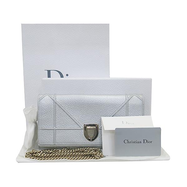 Dior(크리스챤디올) S0311 메탈릭 실버 컬러 마이크로 까나쥬 패턴 디오라마 WOC 클러치백 겸 크로스백 [부산센텀본점]