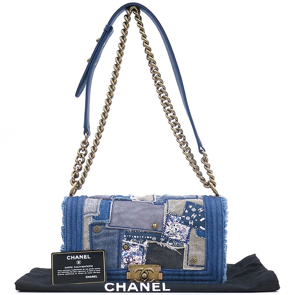 Chanel(샤넬) A92867 보이샤넬 M 데님 블루 멀티컬러 패치 숄더백 [강남본점]