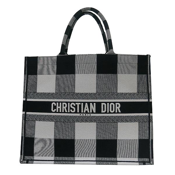 Dior(크리스챤디올) M1286ZRKQ_M941 블랙 오프 화이트 자수 장식 패브릭 Dior Book Tote(북토트) 토트백 [부산센텀본점] 이미지2 - 고이비토 중고명품