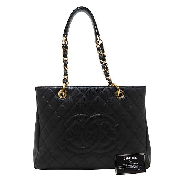 Chanel(샤넬) A50995 Y01864 블랙 캐비어 스킨 그랜드샤핑 금장 장식 로고 체인 숄더백 [인천점]