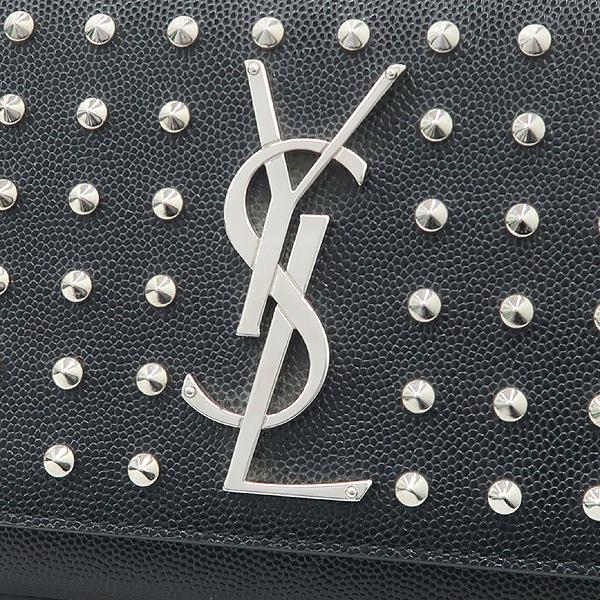 YSL(입생로랑) 332643 블랙 레더 은장 로고 스터드 장식 클러치 [강남본점] 이미지3 - 고이비토 중고명품