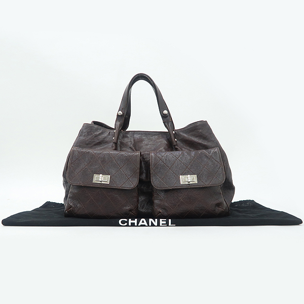 Chanel(샤넬) 브라운 컬러 캐비어스킨 투포켓 토트백 [강남본점]