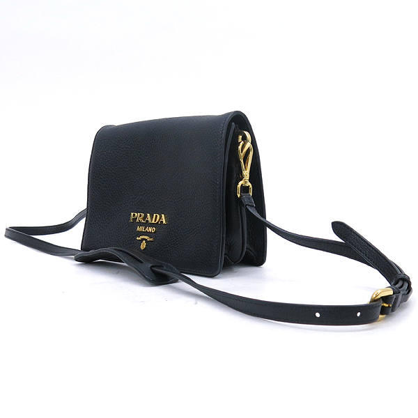 Prada(프라다) 1BD102 비텔로다이노 블랙 컬러 금장 로고 미니 숄더백 + 크로스스트랩 [강남본점] 이미지3 - 고이비토 중고명품