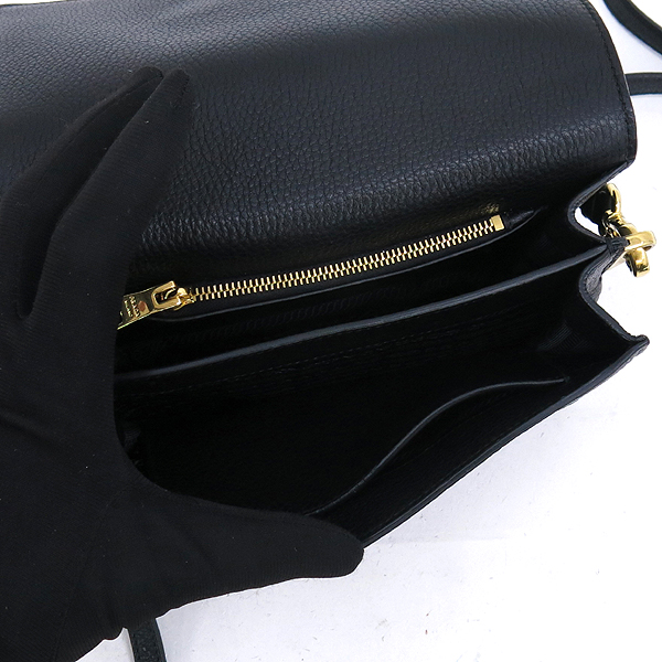 Prada(프라다) 1BD102 비텔로다이노 블랙 컬러 금장 로고 미니 숄더백 + 크로스스트랩 [강남본점] 이미지6 - 고이비토 중고명품