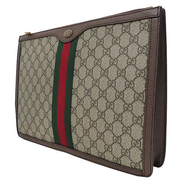 Gucci(구찌) 523359 GG 로고 장식 브라운 레더 PVC 트리밍 오피디아 클러치백 [부산서면롯데점] 이미지3 - 고이비토 중고명품