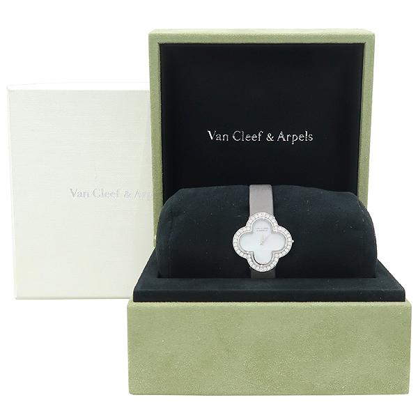 VANCLEEF & ARPELS (반클리프 앤 아펠) 18K 화이트 골드 베젤 다이아 알함브라 스몰 실크밴드 여성용 시계 [강남본점]