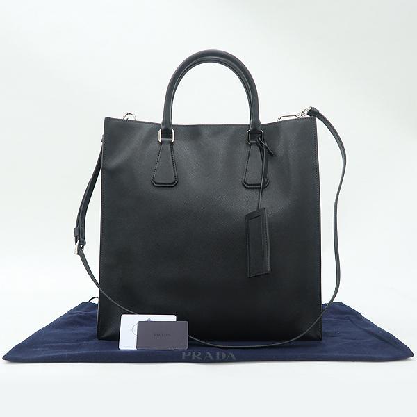 Prada(프라다) VA1016 블랙 사피아노 측면 삼각 로고 토트백 + 숄더스트랩 [강남본점]