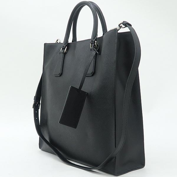 Prada(프라다) VA1016 블랙 사피아노 측면 삼각 로고 토트백 + 숄더스트랩 [강남본점] 이미지3 - 고이비토 중고명품