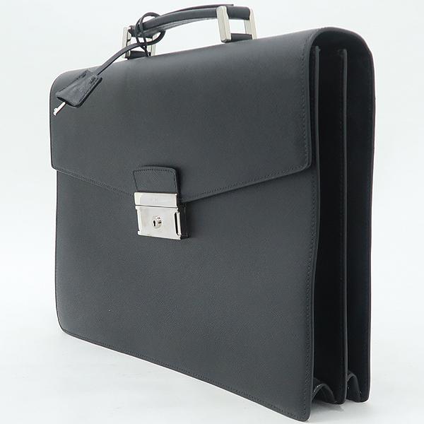 Prada(프라다) VR0006 블랙 사피아노 은장로고 서류 가방 [강남본점] 이미지3 - 고이비토 중고명품