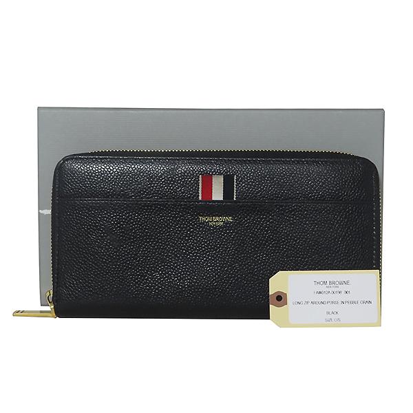 THOM BROWNE(톰브라운) FAW012A 0019 001 블랙 레더 페블 집업 장지갑 [대전본점]
