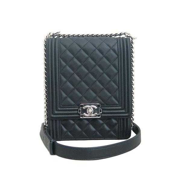 Chanel(샤넬) AS0130 B00255 94305 블랙 레더 보이 샤넬 은장 로고 체인 숄더백 [동대문점] 이미지4 - 고이비토 중고명품