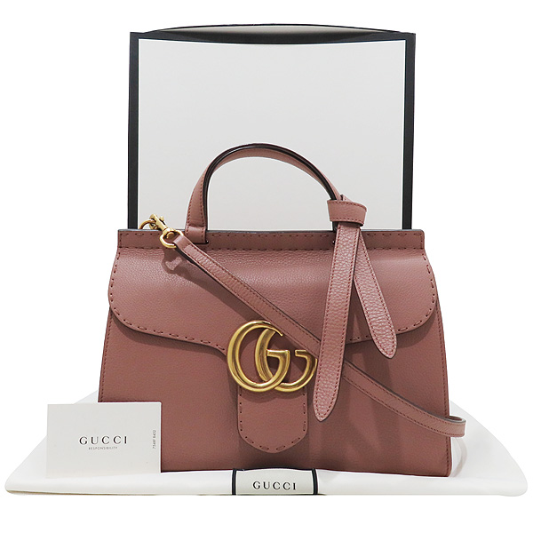Gucci(구찌) 421890 엔틱로즈 컬러 GG Marmont(마몬트) 금장 로고 토트백 + 숄더스트랩 2WAY [인천점]