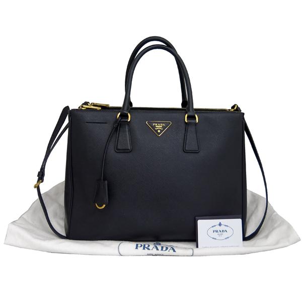 Prada(프라다) B1786T 블랙 레더 사피아노 럭스 금장 삼각 로고 토트백 + 숄더스트랩 2WAY [동대문점]