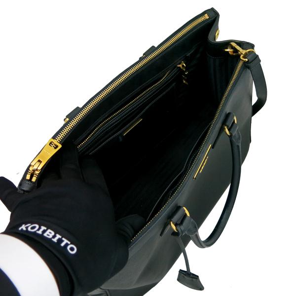 Prada(프라다) B1786T 블랙 레더 사피아노 럭스 금장 삼각 로고 토트백 + 숄더스트랩 2WAY [동대문점] 이미지4 - 고이비토 중고명품