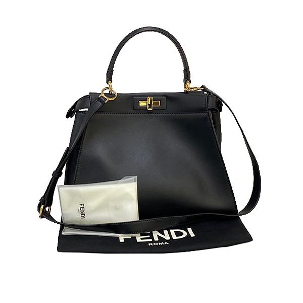 Fendi(펜디) 8BN290 3ZN F0KUR 블랙 레더 REGULAR(레귤러) 피카부 토트백 + 숄더 스트랩 [대구동성로점]